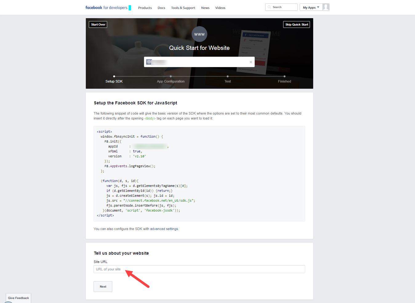 Site Url: Creating A Facebook APP And Enabling Login