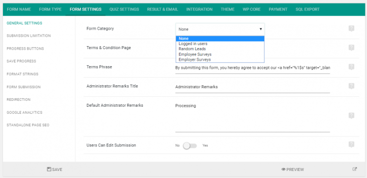 Assigning category to a form