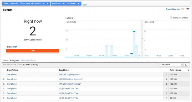Google analytics live events