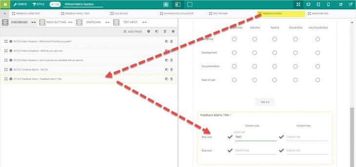 Working with Matrix Feedback Element