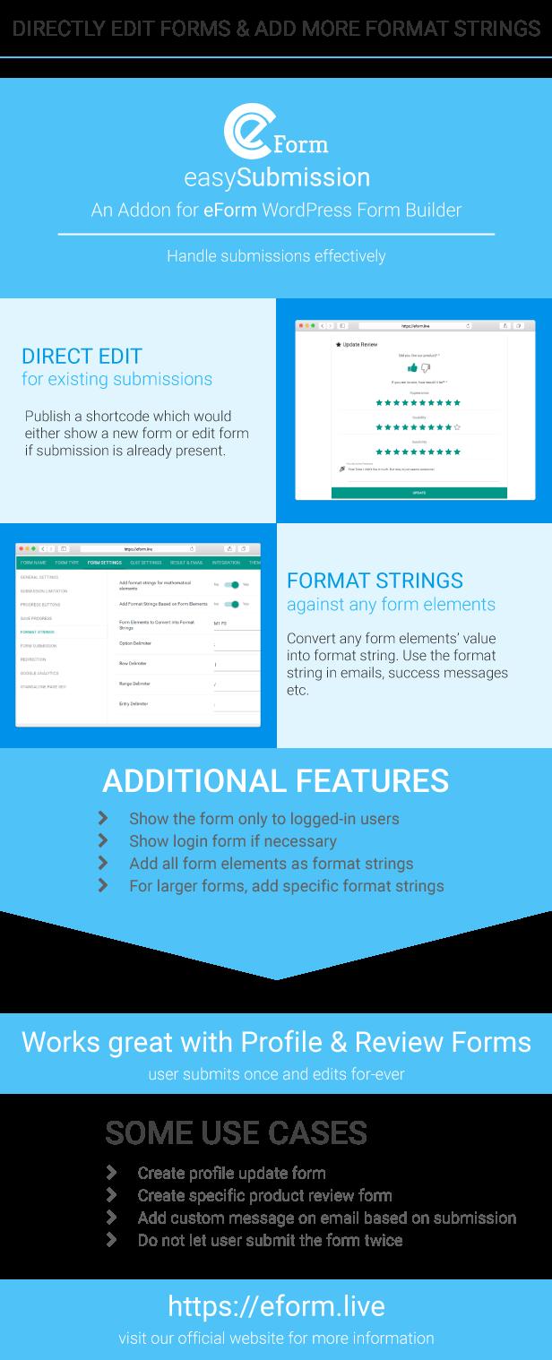eForm Features eForm easySubmission - Direct Form Edit & Extended Format String (Forms) eForm easySubmission - Direct Form Edit & Extended Format String (Forms) eForm easySubmission Product page